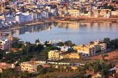 stock photo of saraswati  - Aerial view of Pushkar city Rajasthan India - JPG