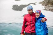 Portrait Of Yound couple Hiking In Altai Mountains