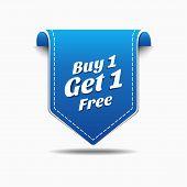 Buy 1 Get 1 Blue Label Icon Vector Design