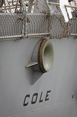 STATEN ISLAND, NY - MAY 21: The stern of the guided-missile destroyer USS Cole (DDG 067) docked during Fleet Week NY at Sullivans Piers on May 21, 2014.