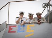 STATEN ISLAND, NY - MAY 21: The conning officer, commander, and harbor master aboard the USS Cole (D