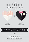 Save the date invitation heart theme