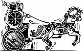stock photo of chariot  - Woodcut style image of the Celtic heroine Brigid riding a chariot - JPG