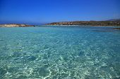 Seascape with crystal shallow waters Elafonisi Crete