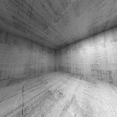 Empty Room, Abstract Concrete 3D Interior. Wide Angle