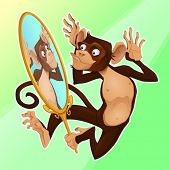 Funny monkey reflecting himself in a mirror. Cartoon vector illustration
