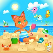 Young cat makes castles on the beach. Funny cartoon and vector illustration, you can play Find The D