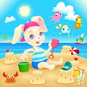 Young rabbit makes castles on the beach. Funny cartoon and vector illustration, you can play Find Th