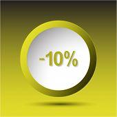-10%. Plastic button. Vector illustration.