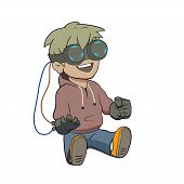 picture of chibi  - This is a vector illustration of chibi kid with Virtual reality glasses - JPG