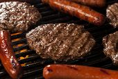 pic of grilled sausage  - Delicious Hamburgers and Hot Dogs on the Grill - JPG