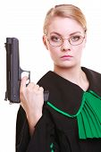 Woman Lawyer Attorney In Polish Black Green Gown With Gun