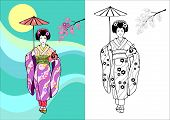 Japanese Girl, Geisha With Umbrella