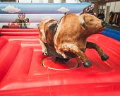 Mechanical Bull On Display At Rocking The Park Event In Milan, Italy