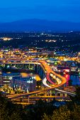 Portland Freeway At Night