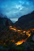 mountain village by night in Tenerife, Canary islands