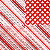 image of oblique  - vector set of red oblique striped seamless patterns - JPG