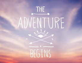 stock photo of freehand drawing  - Bright Pink Sky with Adventure Quote - JPG