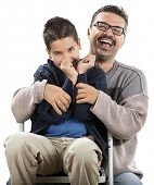 image of pre-adolescent child  - Cute Child with his Father - JPG