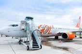 RIO DE JANEIRO, BRAZIL - CIRCA NOV 2014: GOL Aircraft in Santos Dumont Airpot in Rio de Janeiro, Brazil. GOL became a world reference for democratizing air transportation in Brazil.
