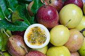 picture of passion fruit  - Ripe passion fruits and leaf on passion fruits background - JPG