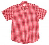 Man's red white cotton plaid shirt
