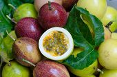 pic of passion fruit  - Passion fruits on ripe passion fruit background - JPG