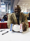 Lawrence Taylor, New York Giants linebacker and Hall of Famer, during autographs session in NY