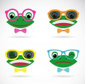 Vector Image Of A Frog Wearing Glasses On White Background.