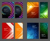 image of brochure  - Set of Brochure Flyer design vector template Geometric Lines and Lights abstract backgrounds  - JPG