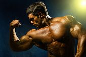 Handsome Muscular Bodybuilder Demonstrates His Muscles