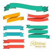Vector Set Of Ribbons Vintage Style For Design