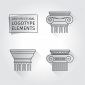 Linear Icons Columns. Flat With Long Shadows. Elements Of A Corporate Logo. Vector Set