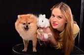Girl, Bunny And Dog