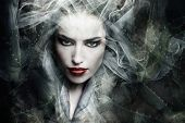 stock photo of composition  - dark fantasy sorceress woman - JPG