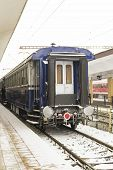 Passenger train car stationed