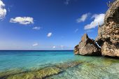 Rocks and clear turquoise water at Cas Abou beach, Curacao