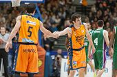 VALENCIA, SPAIN - NOVEMBER 23:  Ribas (L) Vives (R) during Spanish League game between Valencia Basket Club and Unicaja Malaga at Fonteta Stadium on November 23, 2014 in Valencia