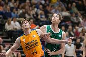 VALENCIA, SPAIN - NOVEMBER 23:  Harangody (L) Vasileiadis (R) during Spanish League game between Valencia Basket Club and Unicaja Malaga at Fonteta Stadium on November 23, 2014 in Valencia