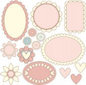 Romantic pink labels, hearts and flowers