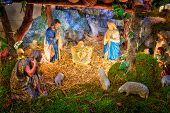 image of mary  - Traditional Christmas nativity scene with baby Jesus Mary Joseph and shepherds in barn - JPG