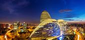 Beijing,China-July 13th,2014:cityscape and famous landmark building,WangJing Soho at night.