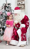 image of saint-nicolas  - Girl in a pink dress talks to Saint Nicolas near a Christmas fir - JPG