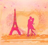 Romantic Couple In Paris Kissing Near The Eiffel Tower, Retro Card