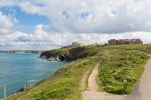 Path on Newquay coast North Cornwall England UK