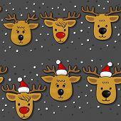 Reindeer in Santa Claus hats Christmas horizontal border set on dark