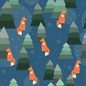 Abstract Seamless Pattern Background With Funny Cartoon Ginger Fox