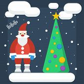 Funny Cartoon Winter Holidays Background With Santa And Spruce Made In Trendy Flat Style Colors