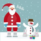 Funny Cartoon Winter Holidays Card With Santa, Rabbits And Cute Snowman
