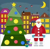 Winter Holiday Picture For Greeting Cards With Spruce And Funny Cartoon Santa Coming To Town With Gi